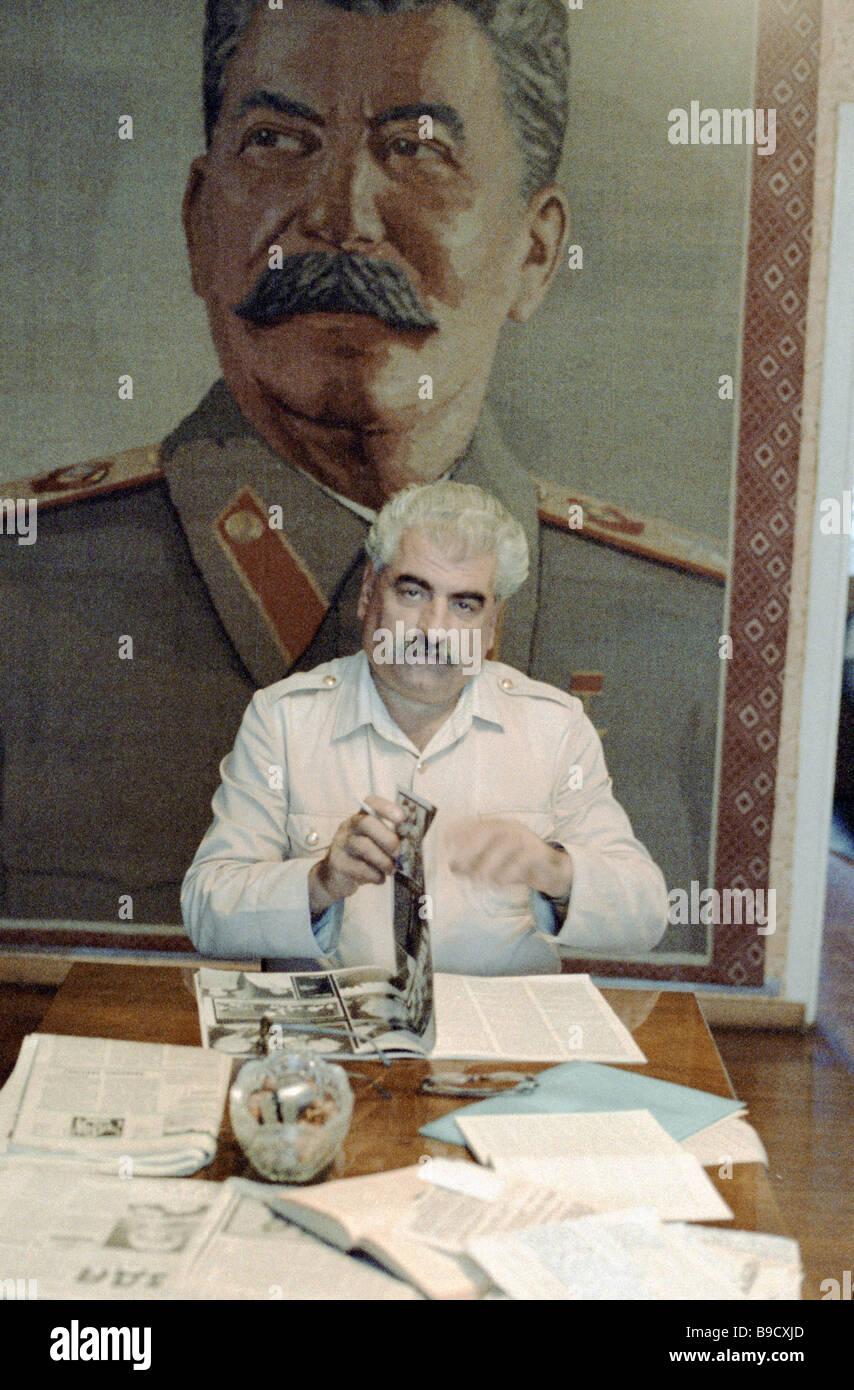Joseph Stalin Cult of Personality Museum keeper Guram Kakhidze dock laborer - Stock Image