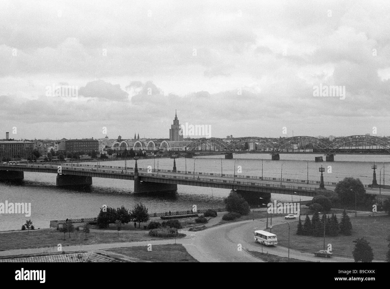 Bridges spanning the Daugava River - Stock Image