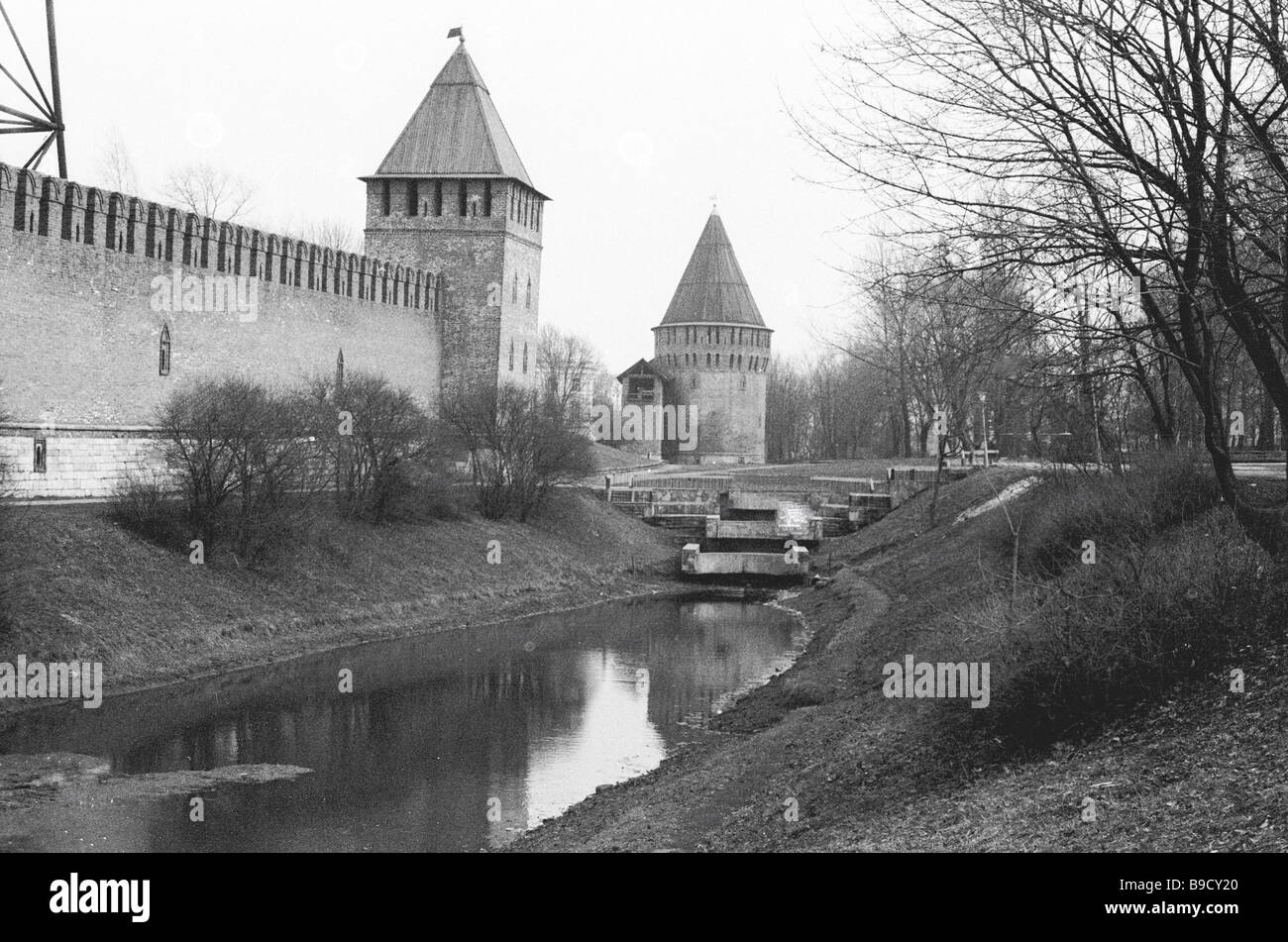 A part of the Smolensk Kremlin fortress wall 16 17 century with Kopytenskaya and Bubleiskaya towers - Stock Image