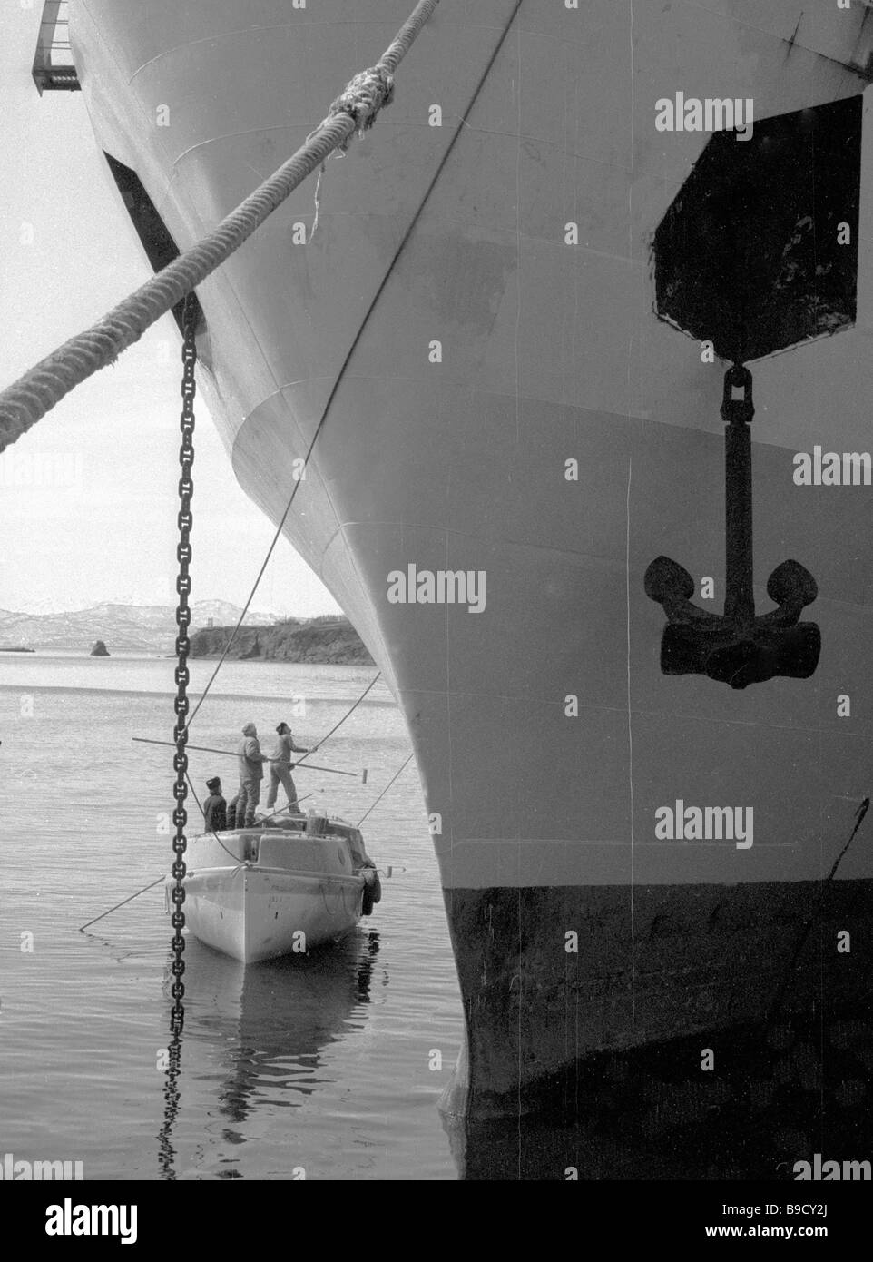 A fish trawler anchored at the pier - Stock Image