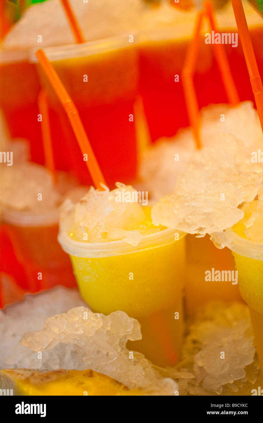 fresh juices in plastic glass Stock Photo