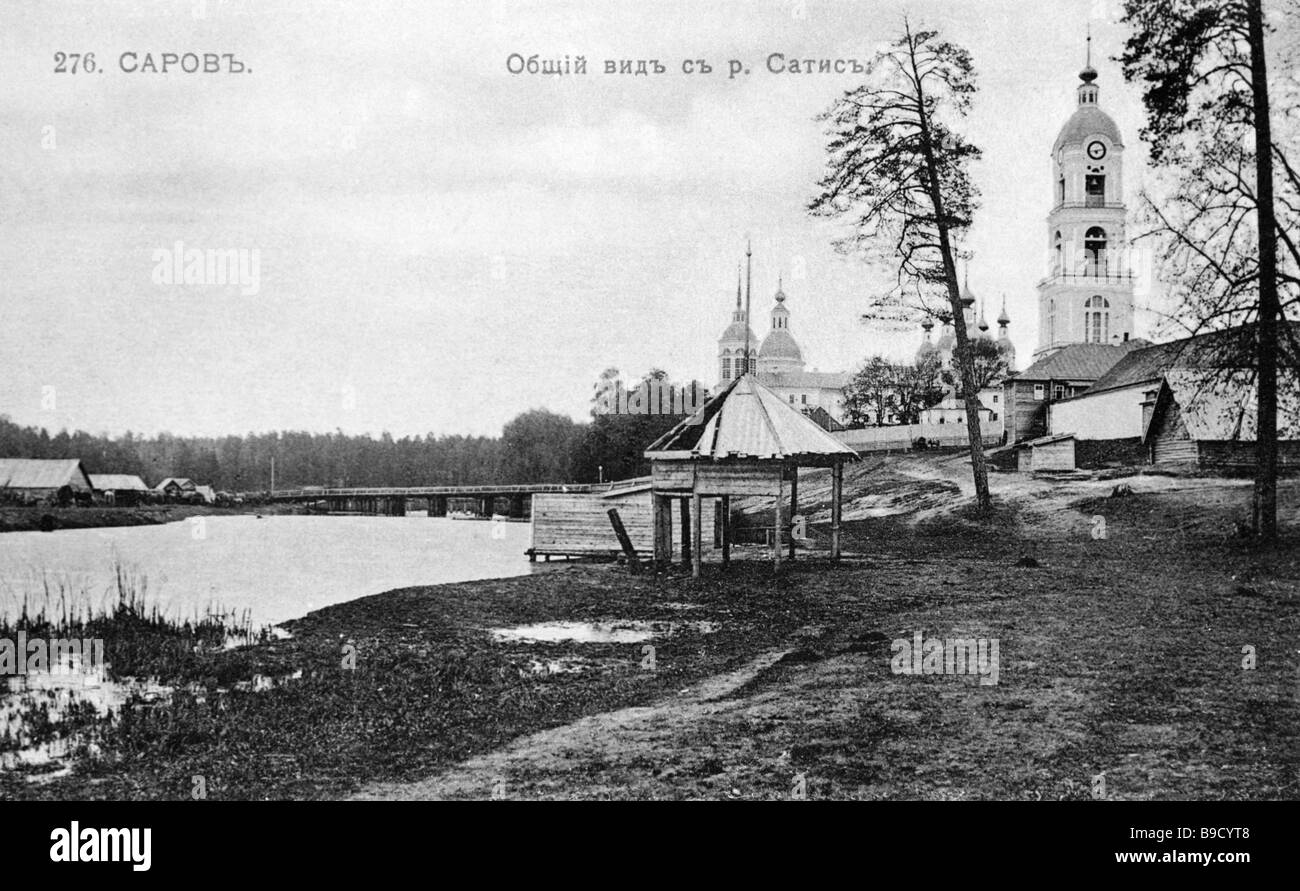 Reproduction of an early 20 century postcard depicting the Sarov monastery - Stock Image