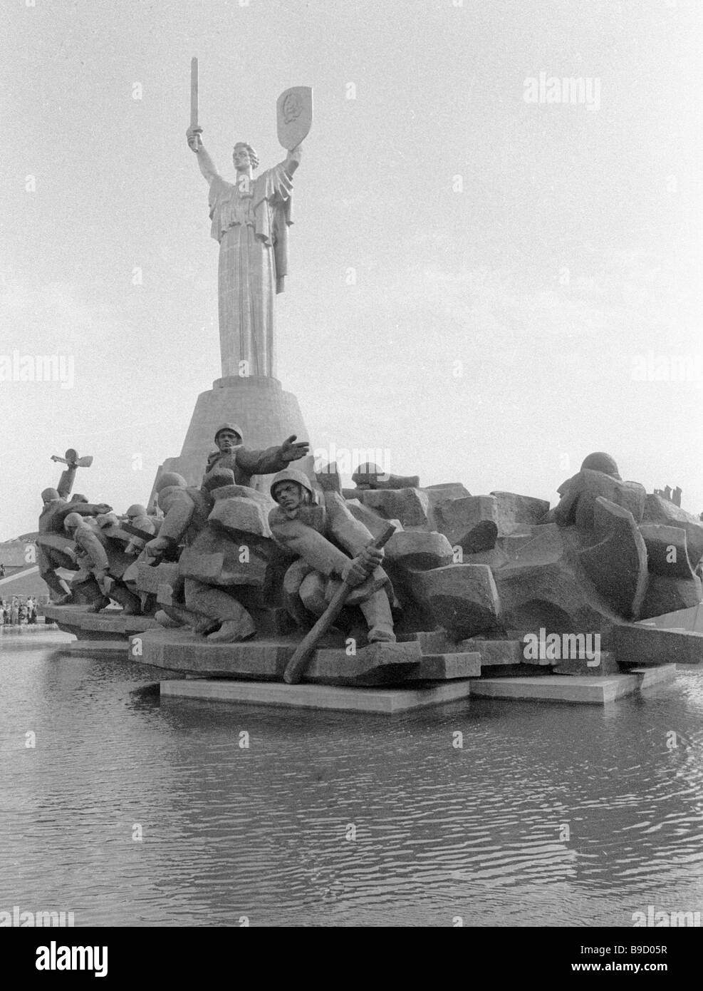 Sculptural composition devoted to the battle of the Dnieper at memorial complex Ukrainian State Museum of the History - Stock Image