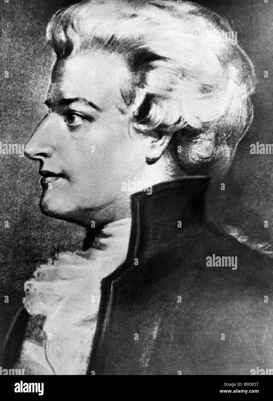 Reproduction of the portrait Wolfgang Amadeus Mozart by an unknown painter - Stock Image