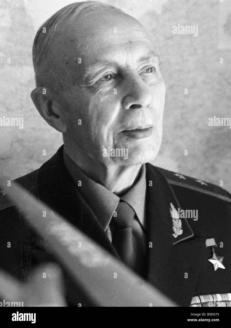 Valery Chkalov s crew navigator Hero of the Soviet Union Alexander Belyakov - Stock Image