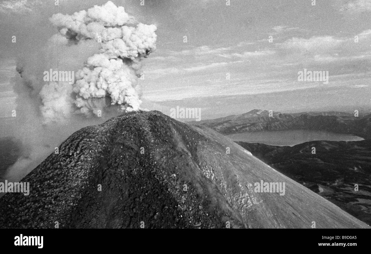 Karymsky an active volcano in kamchatka russian far east stock image