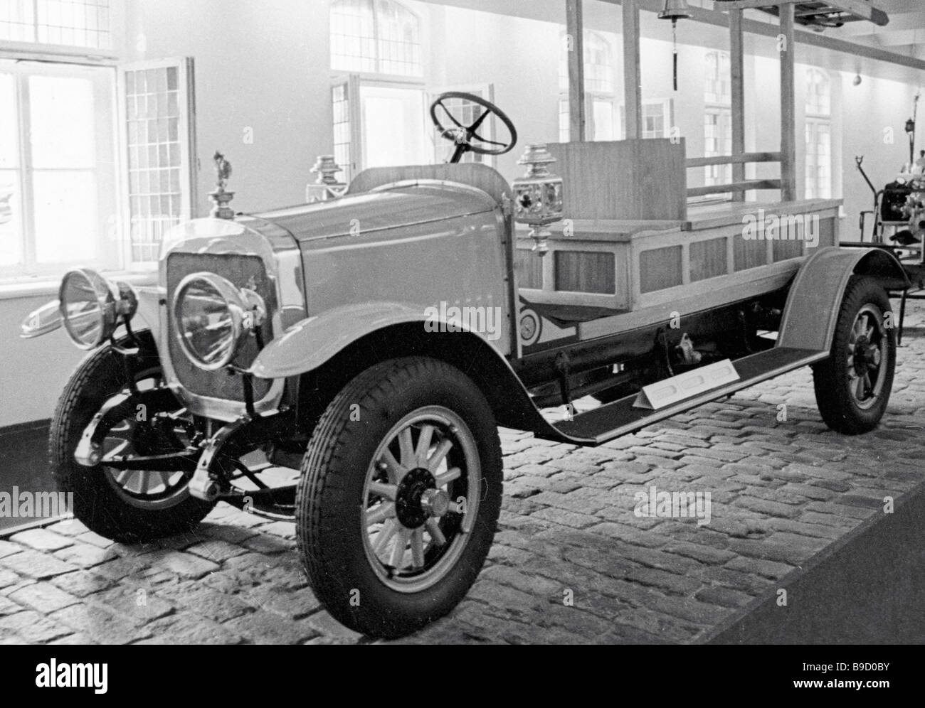 A fire fighting version of the Russo Balt vehicle in the Riga museum of vintage cars - Stock Image