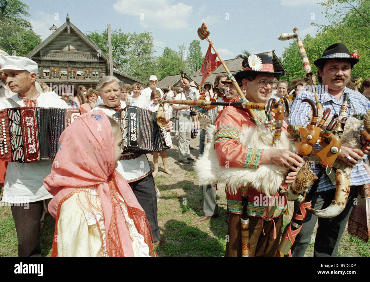 Folklore groups performing during the days of Slavic Alphabet and Culture - Stock Image