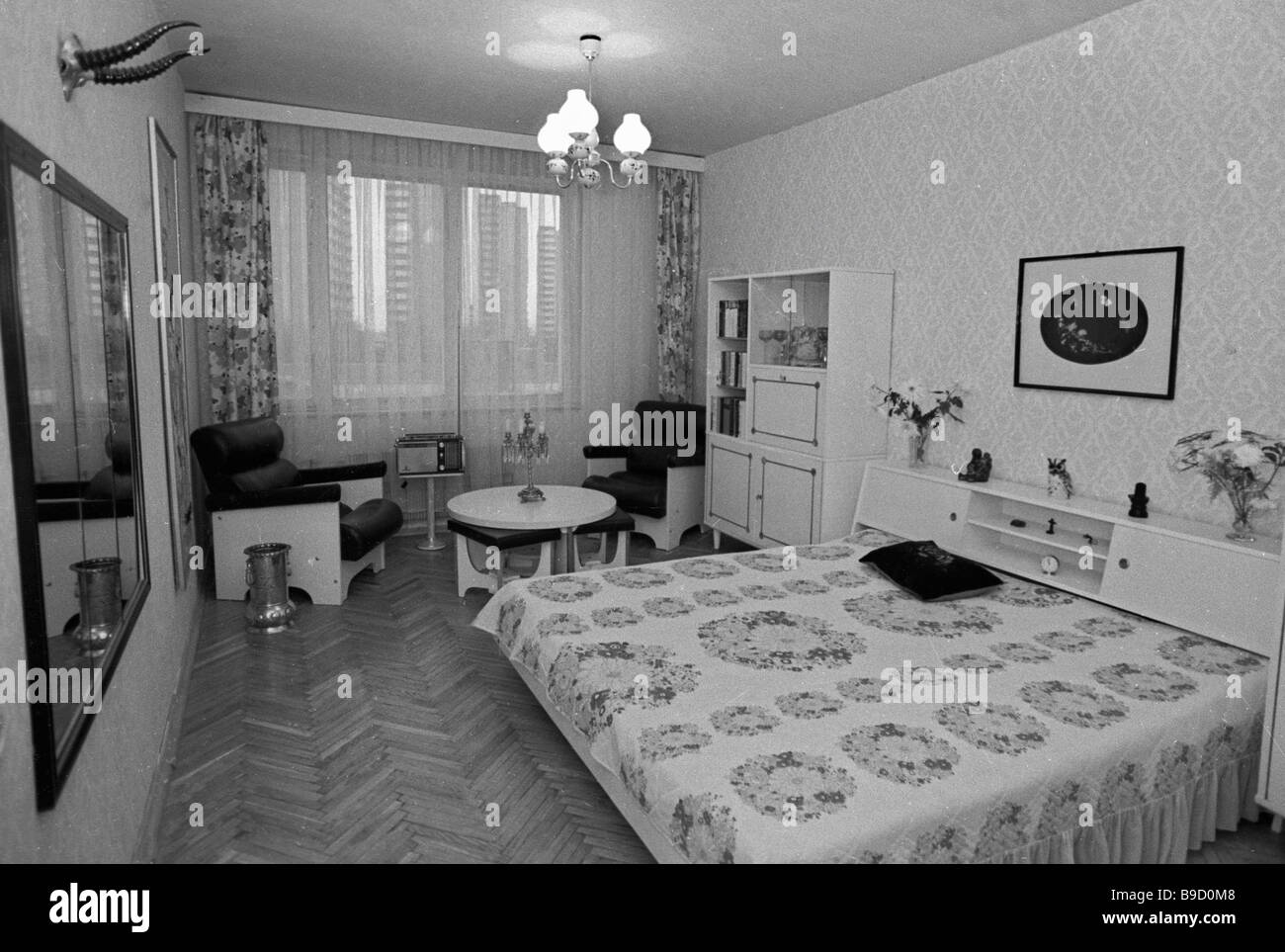 Bedroom in a new cooperative house in Orekhovo Borisovo neighborhood Moscow - Stock Image
