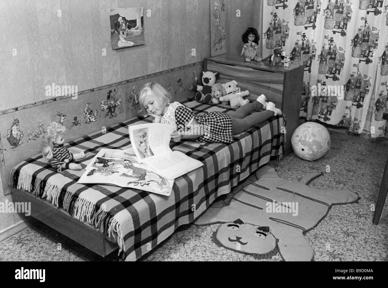 Children s room in a new cooperative house in Orekhovo Borisovo neighborhood Moscow - Stock Image