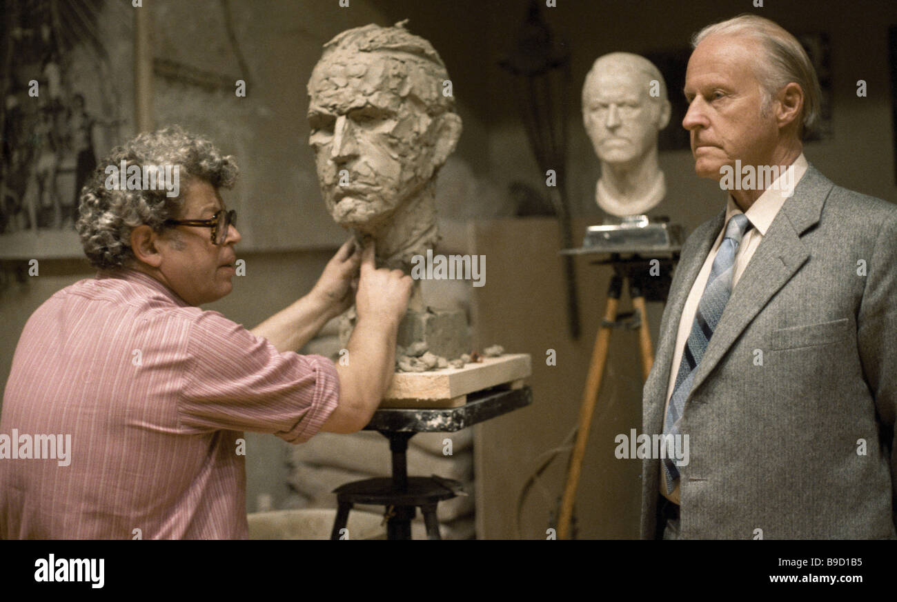 Norwegian ethnographer and archeologist Thor Heyerdahl right sitting for the R S F S R Merited Artist sculptor Yury - Stock Image