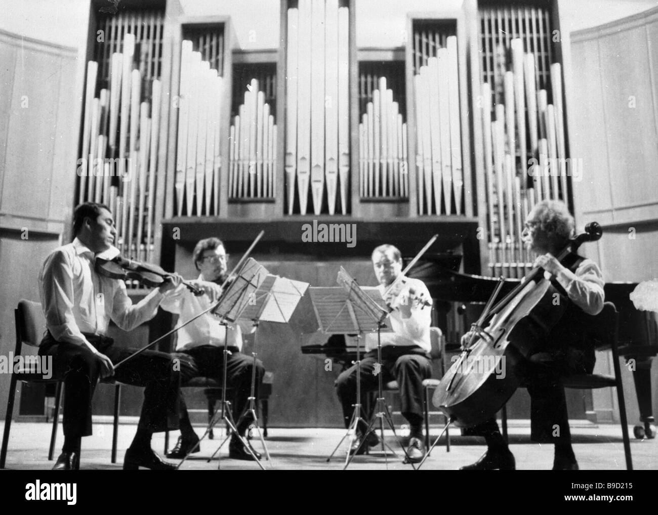 Alexander Borodin stringed quartet performing at the Moscow conservatory - Stock Image