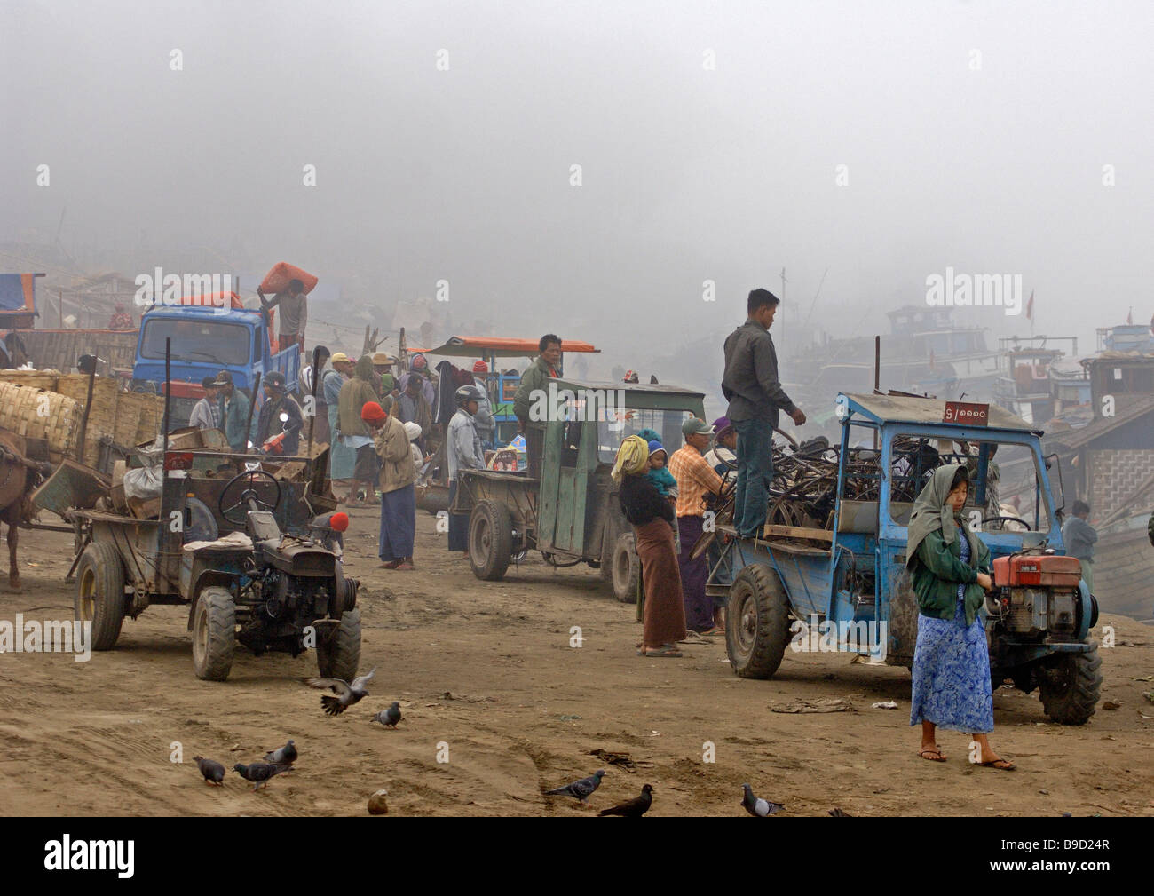 early morning at the ferry station of Mandaly Myanmar - Stock Image