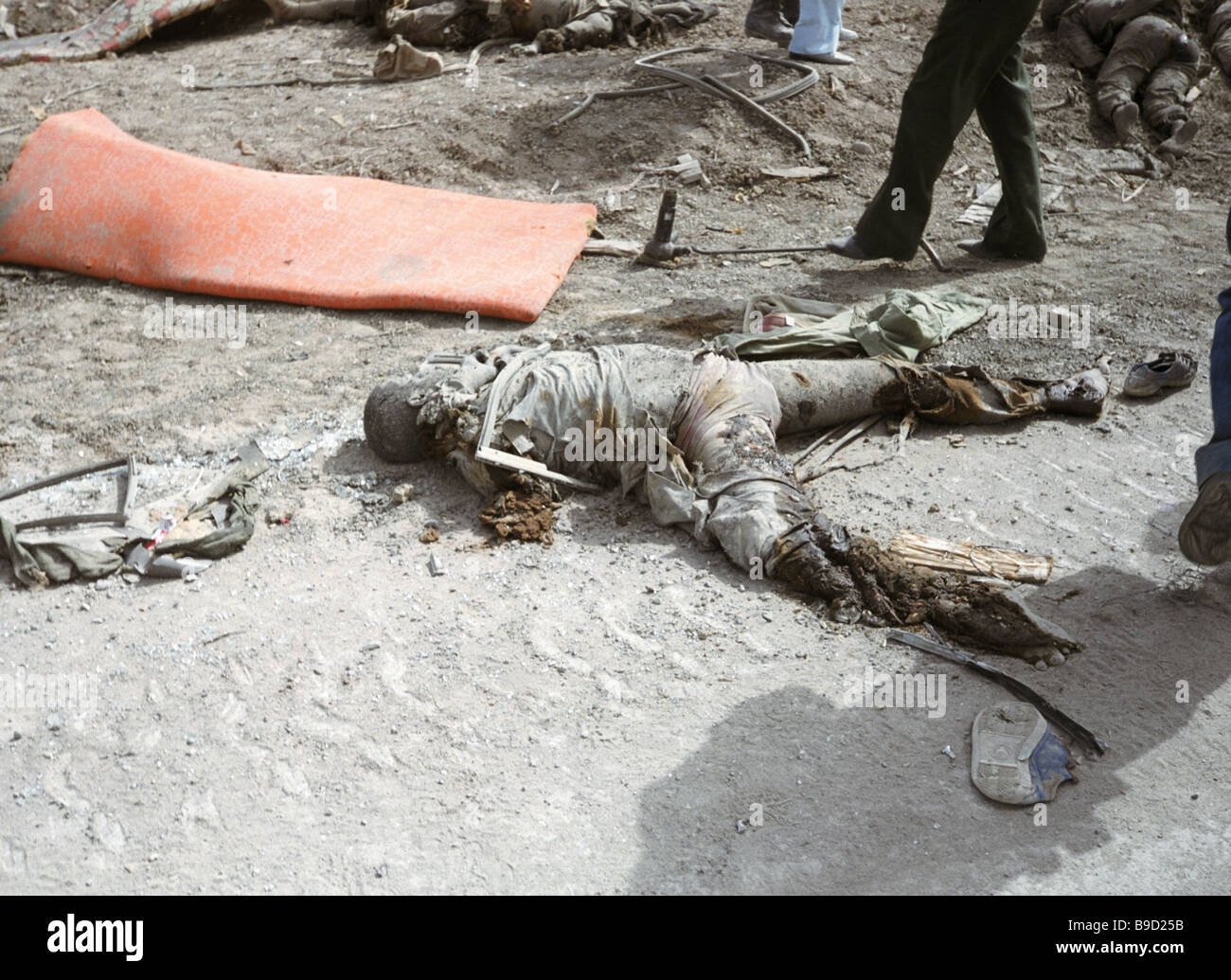 The dead body of a soldier killed on the Iranian Iraqi front - Stock Image