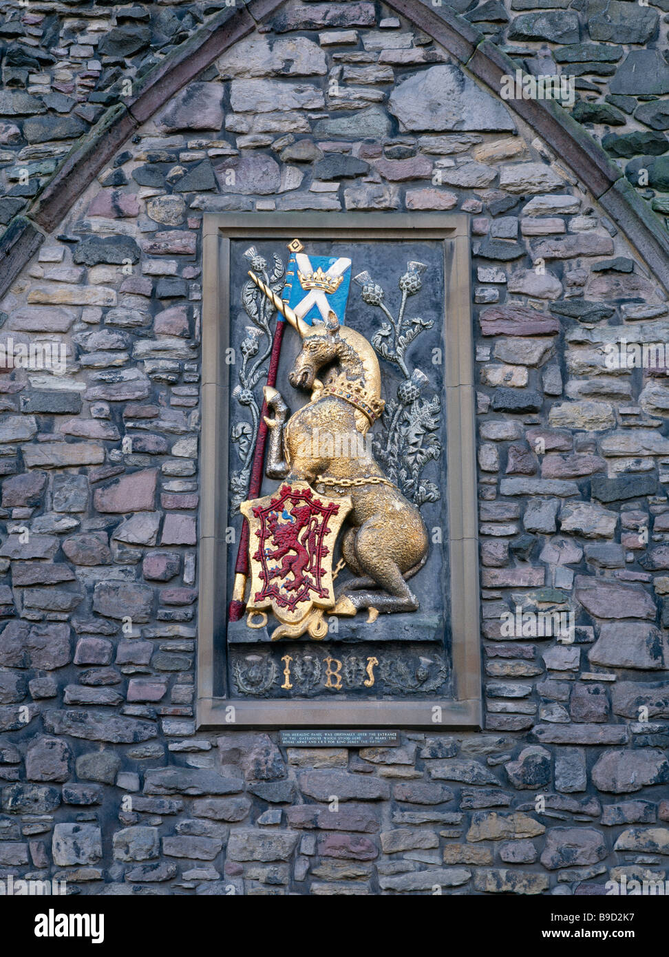 Heraldry in Abbey Strand, Holyrood Palace, Edinburgh, Scotland, UK. It bears the Royal Arms and I R 5 for King James - Stock Image