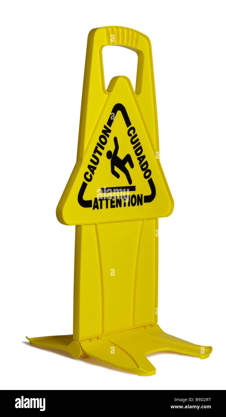 Yellow Caution Sign - Stock Image