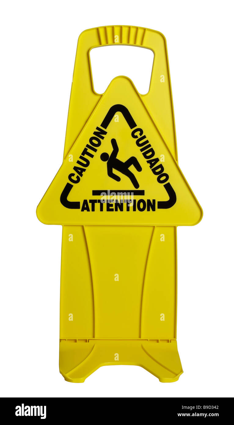 Caution Yellow Sign - Stock Image
