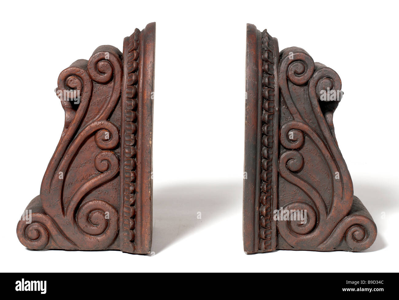 Brown Wooden Bookends - Stock Image