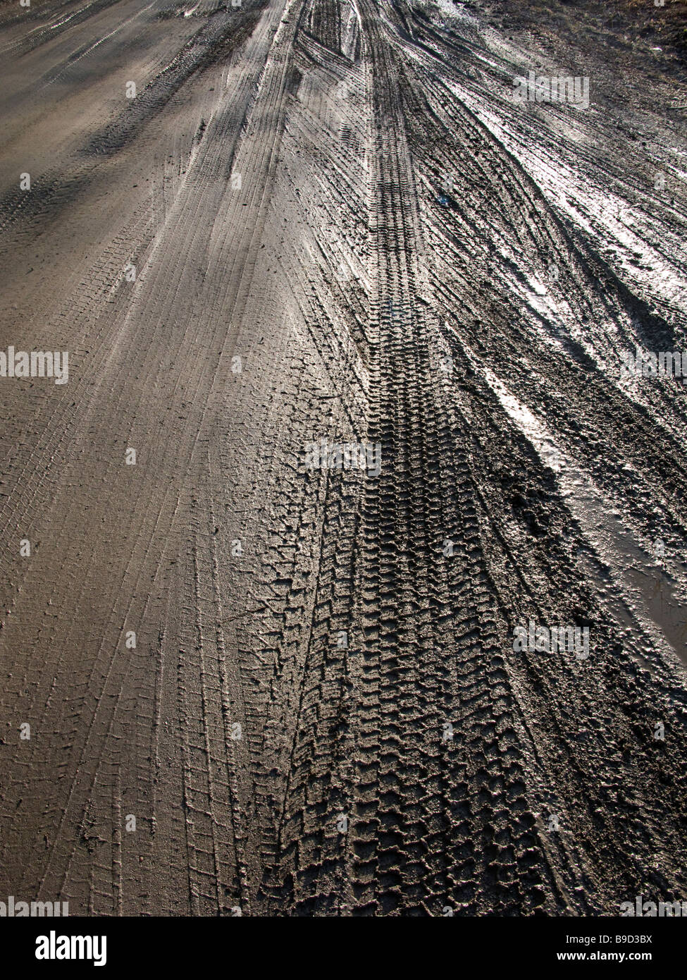 a muddy Vermont dirt road with a variety of tire impressions - Stock Image
