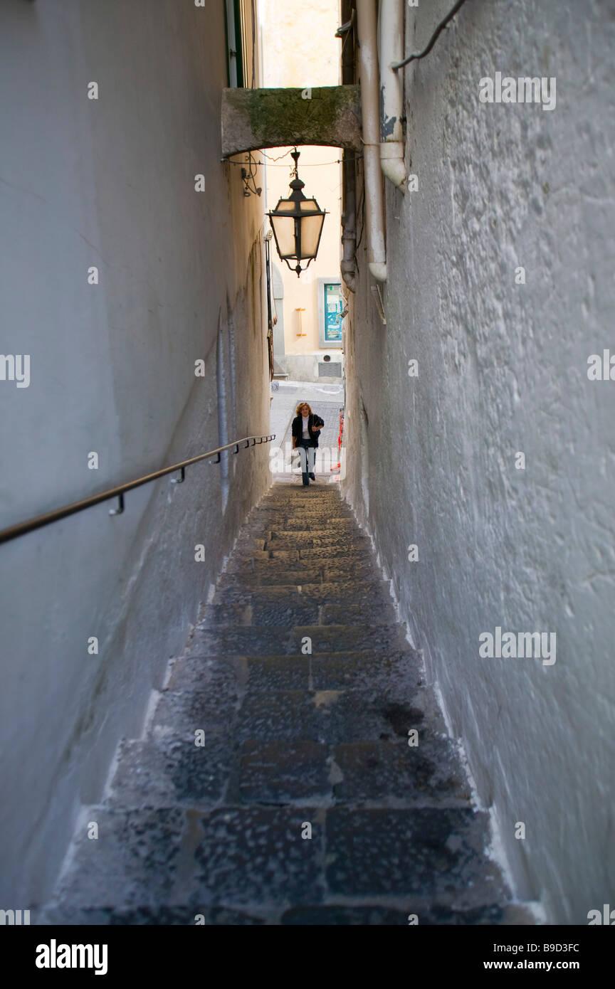 Narrow street Amalfi Amalfi coast Salerno Italy Stock Photo