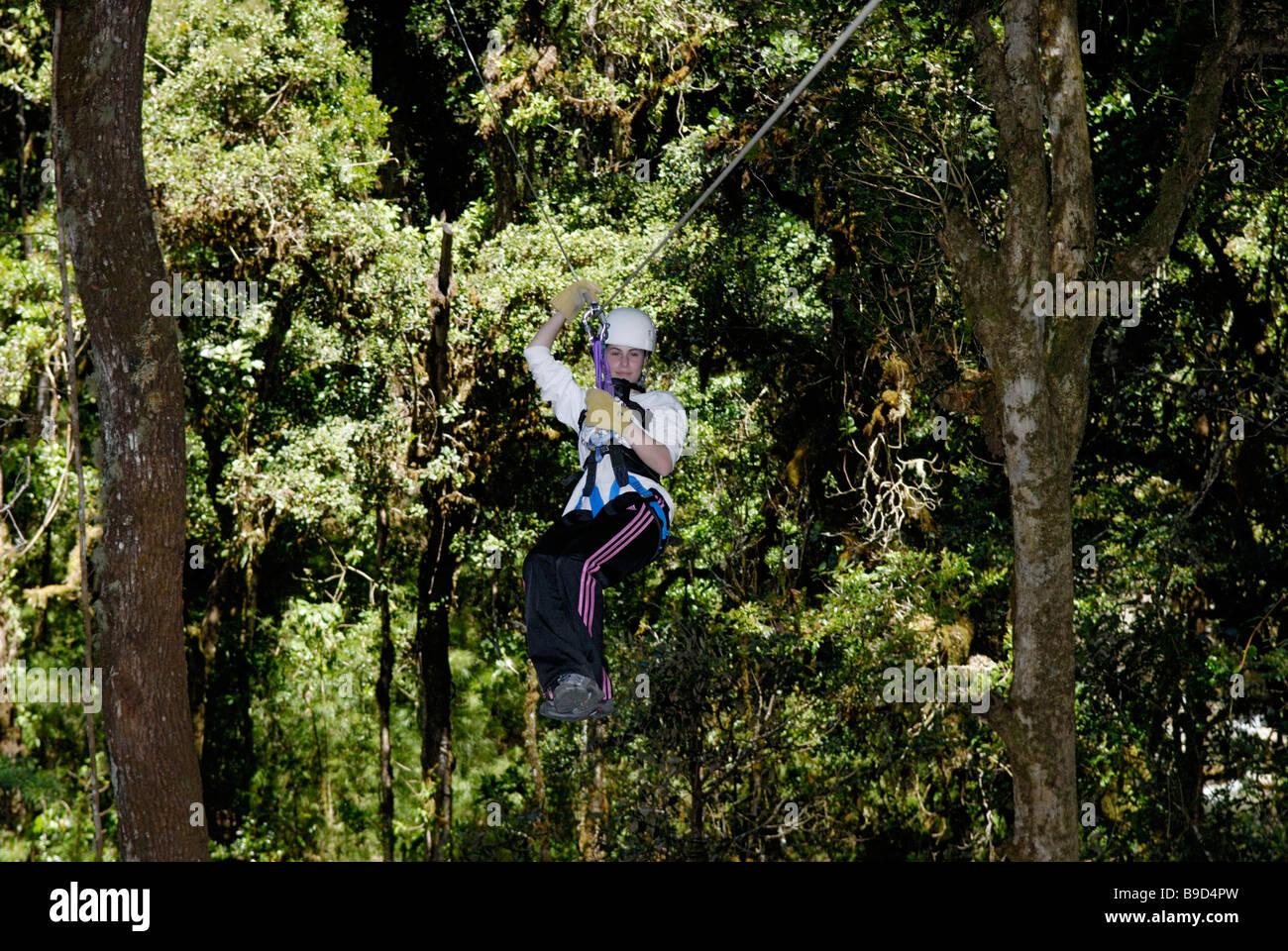 Zipline ride in rainforest, Costa Rica - Stock Image