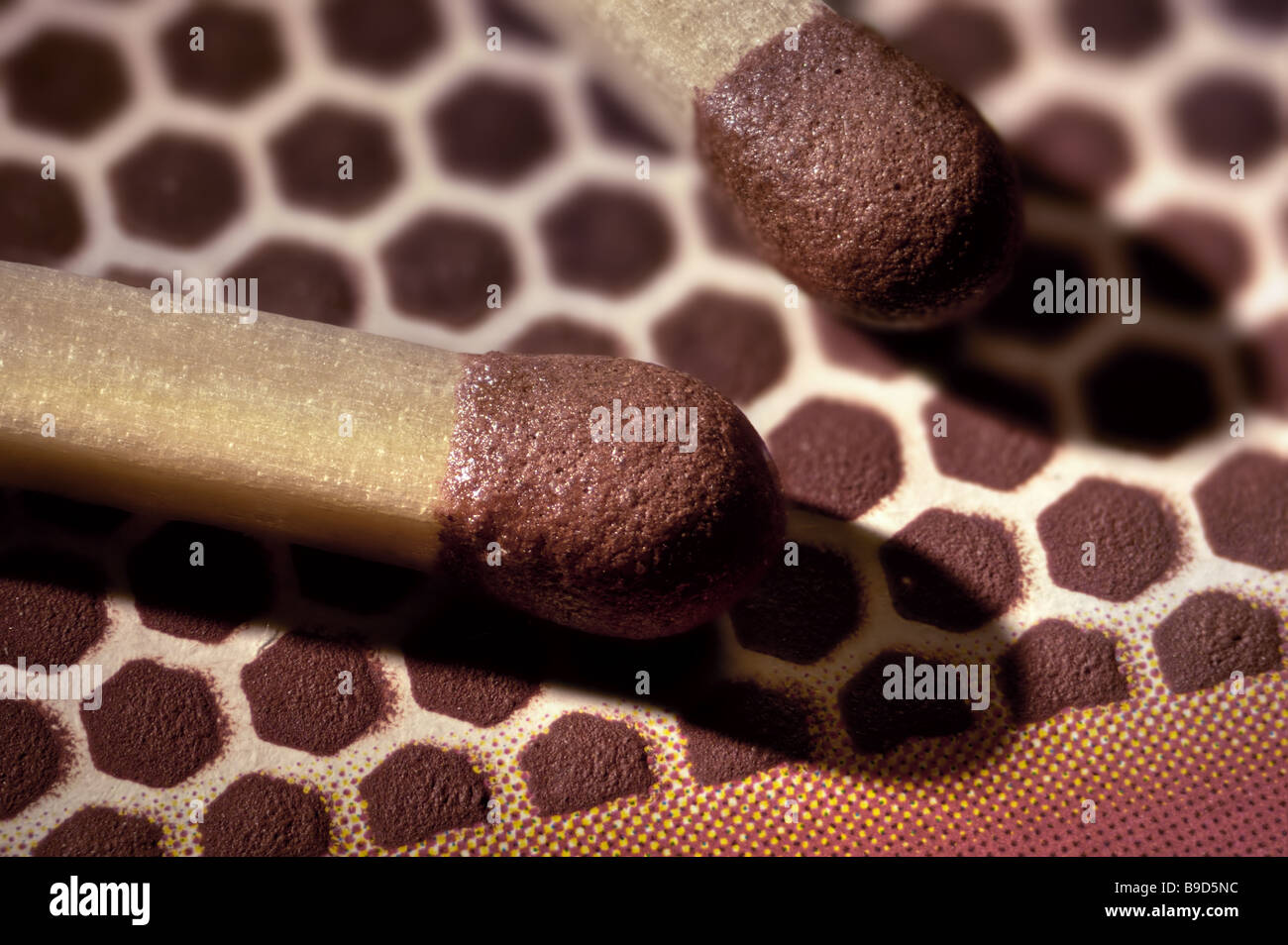 Matchstick tip extreme macro closeup Stock Photo