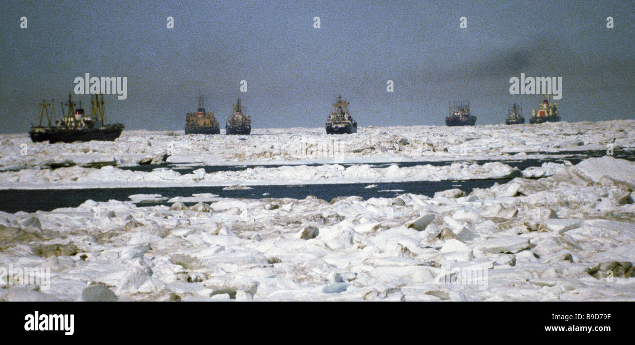 An armada of sea vessels - Stock Image
