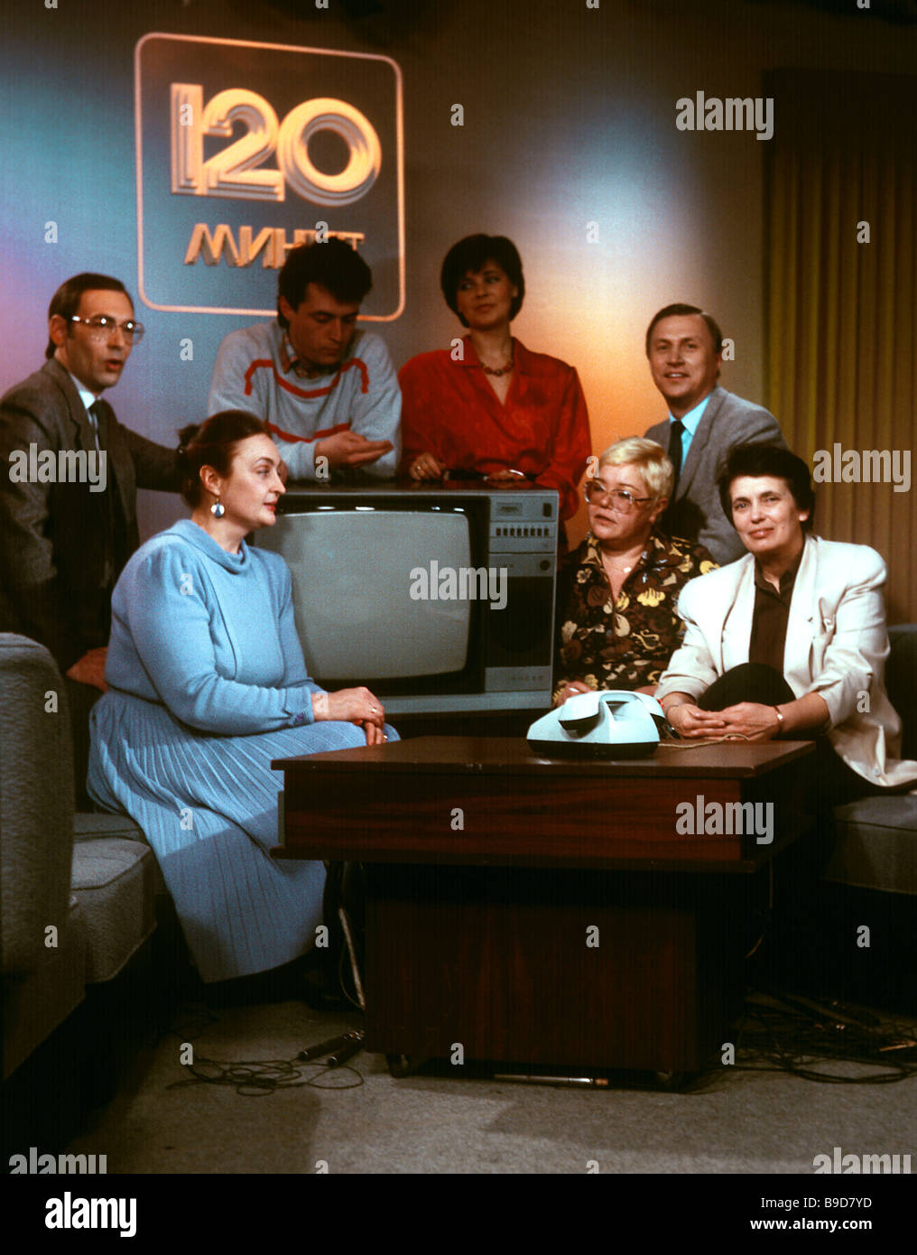 Production crew of 120 Minutes morning show at Central Television Network - Stock Image
