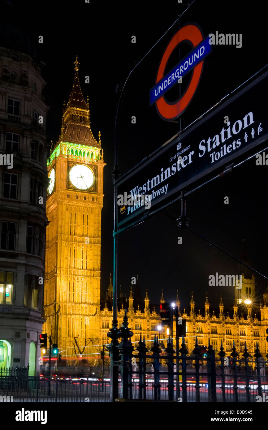 London night Big Ben clock tower commissioned 1859 part of Palace of Westminster Houses of Parliament tube station - Stock Image