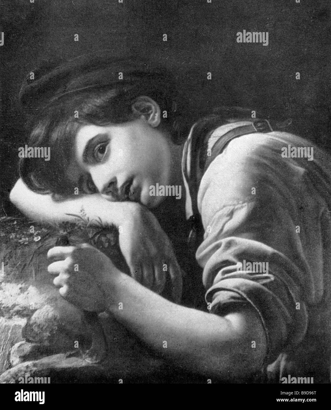 A copy of artist Orest Kiprensky s 1783 1836 picture A Young Gardener from the collection of the State Russian Museum - Stock Image