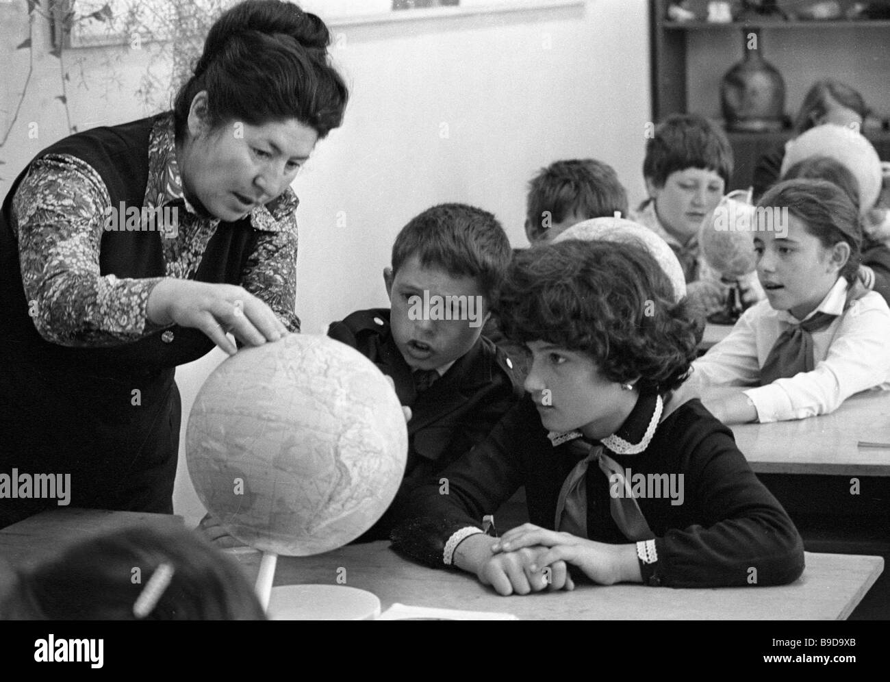 A lesson of geography at the school in Khabez - Stock Image