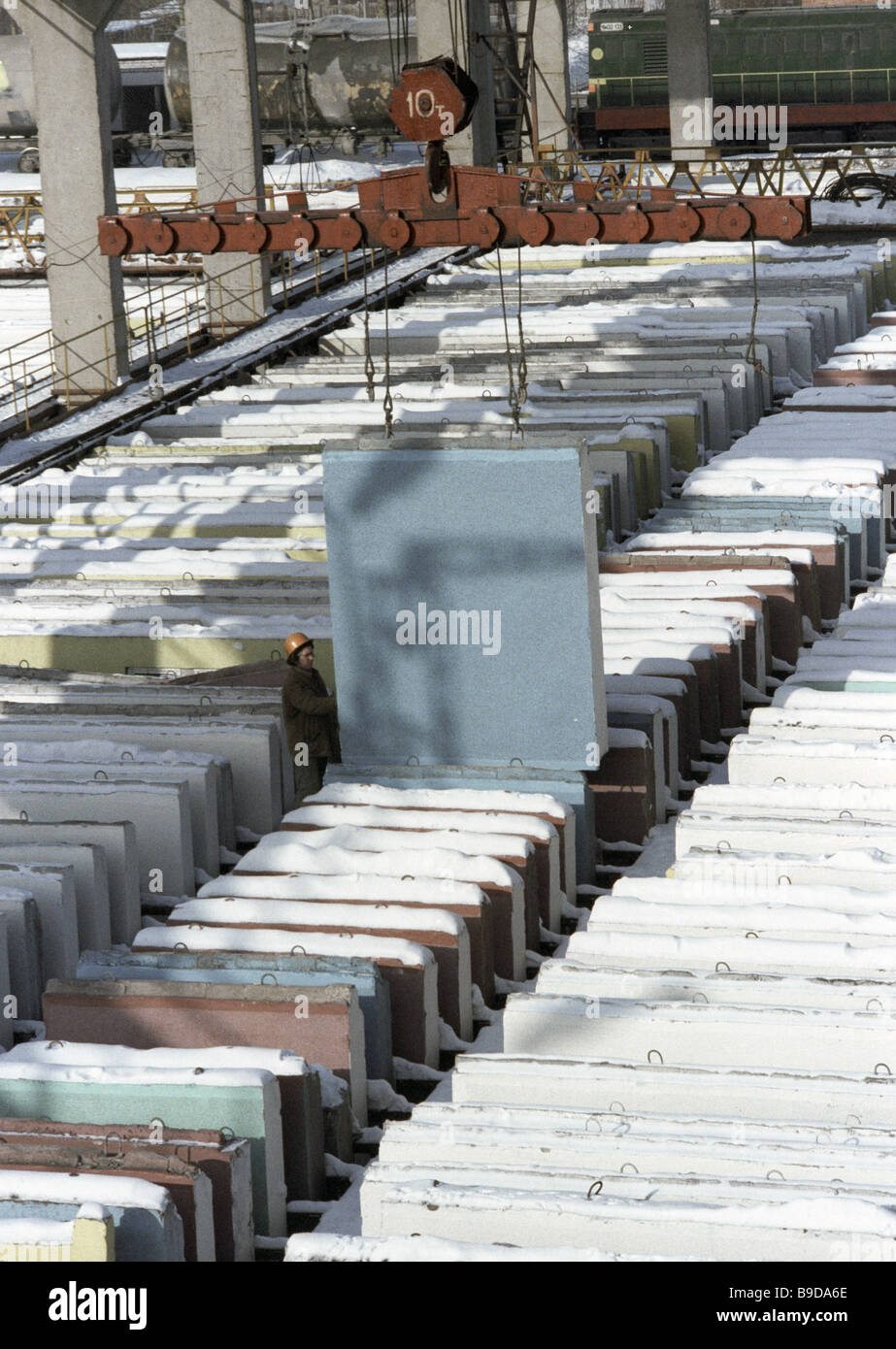 Loading finished panels at Moscow housing construction factory No 3 - Stock Image