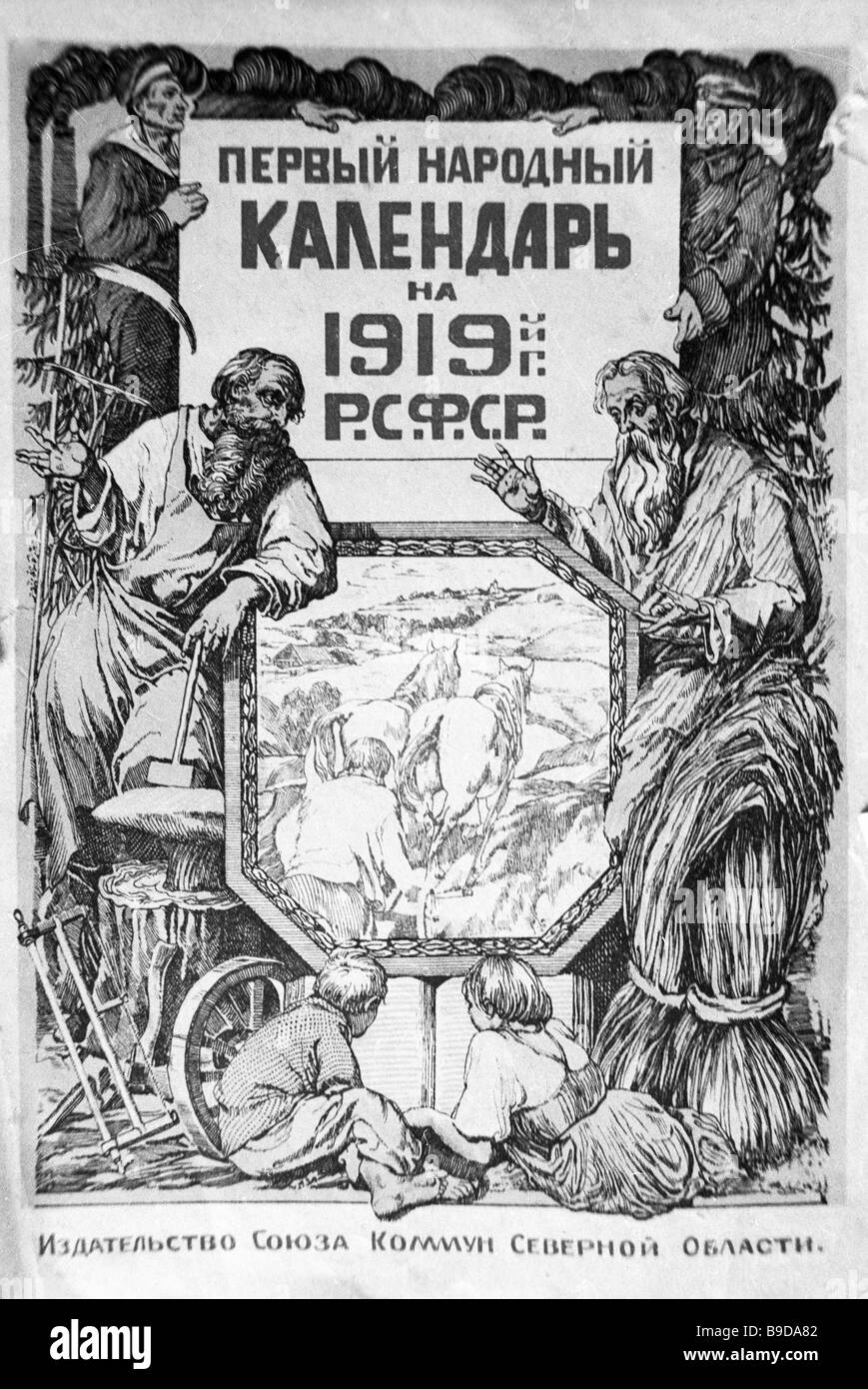 Reproduction of The first popular calendar for 1919 issued by the Union of the Northern Region s Communes - Stock Image