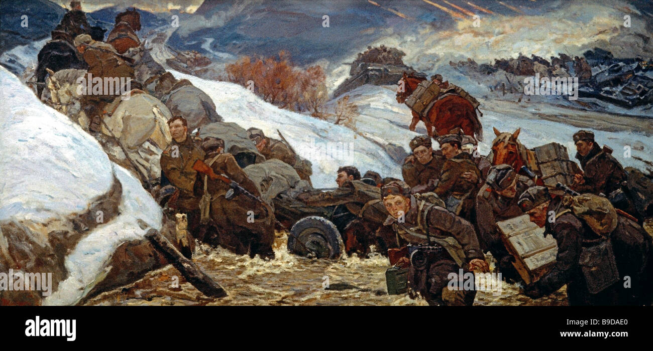 Pyotr Zhigimont s Comradeship in Arms a painting from the Moscow based Mitrofan Grekov Battle painting Studio It - Stock Image