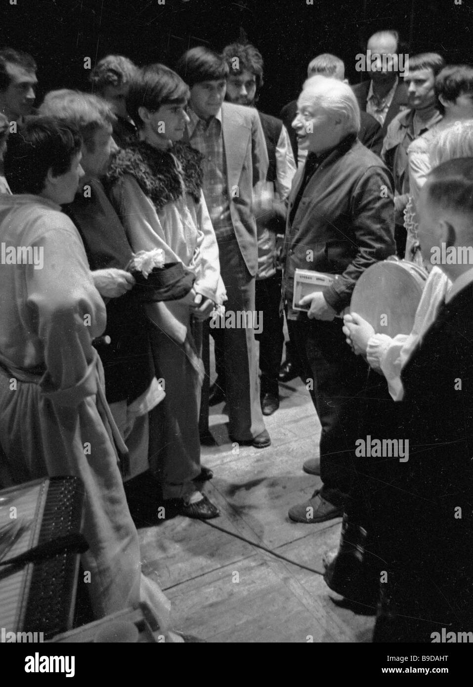 Sergei Obraztsov center People s Artist of the U S S R talking to performers of the Kharkov Puppet Theater - Stock Image
