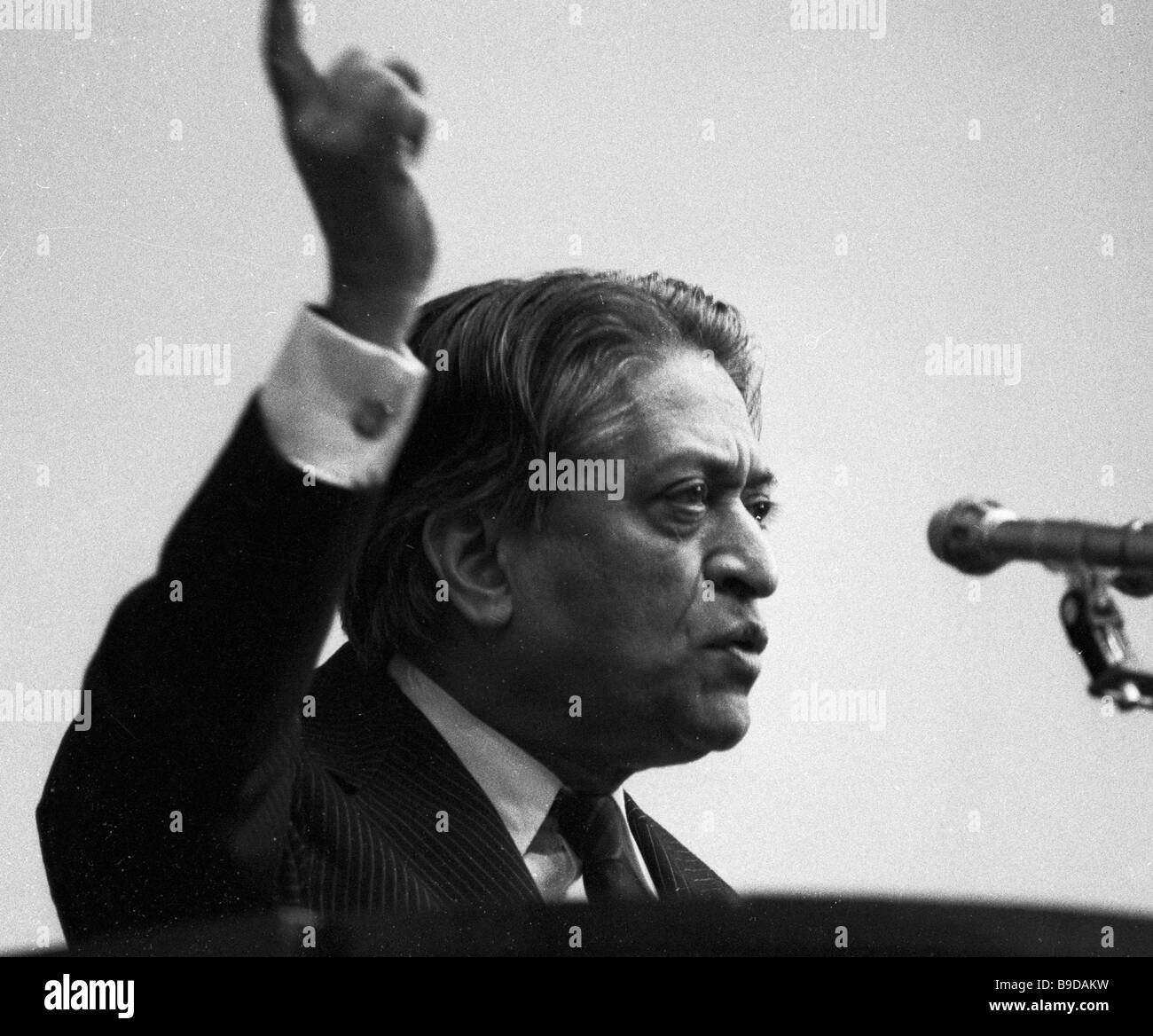 President of the World Peace Council Romesh Chandra speaking at an antiwar rally in Moscow - Stock Image