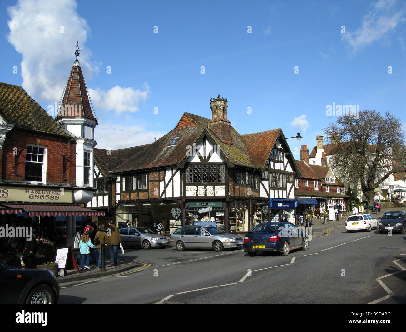 Traffic and shops looking north in the High Street, Haslemere, Surrey, England, Great Britain, United Kingdom, UK, Stock Photo