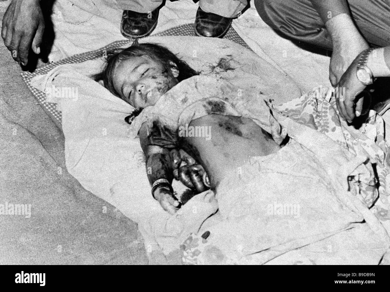 A child killed in extremist shelling of Baraki area - Stock Image