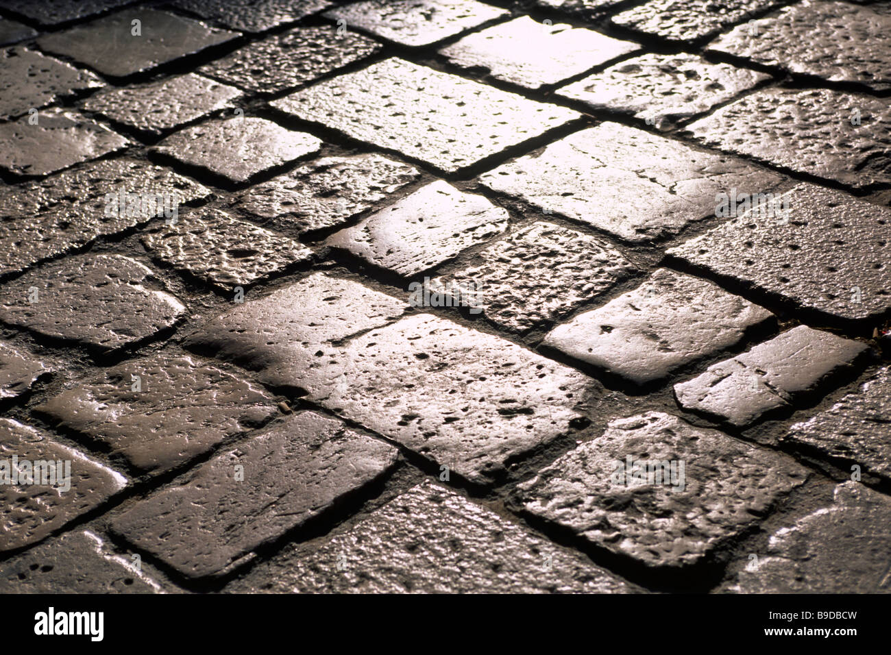 italy, basilicata, matera, sassi, cobbled street close up - Stock Image