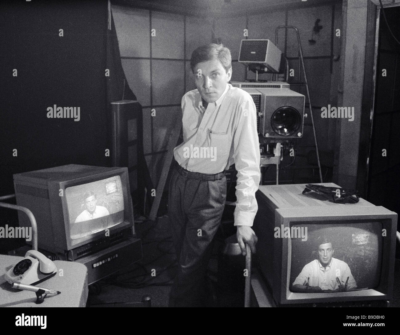 Alexander Nevzorov the writer and host of Leningrad s 600 seconds TV program - Stock Image