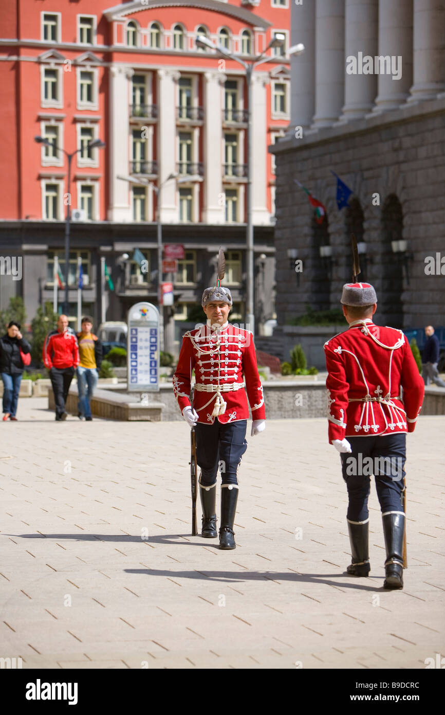 President's Palace guards Sofia Bulgaria Stock Photo
