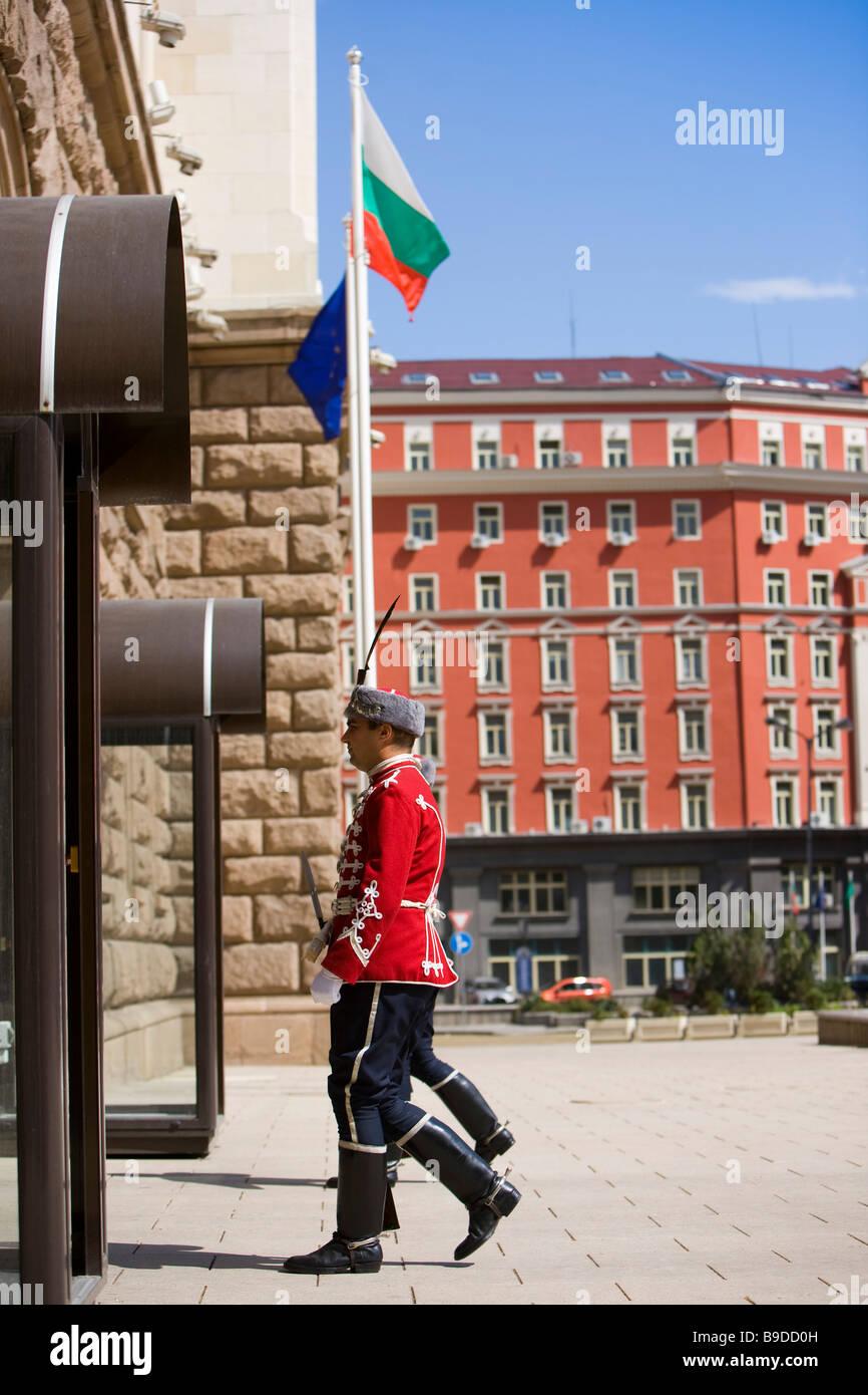 President's Palace guards Sofia Bulgaria Stock Photo