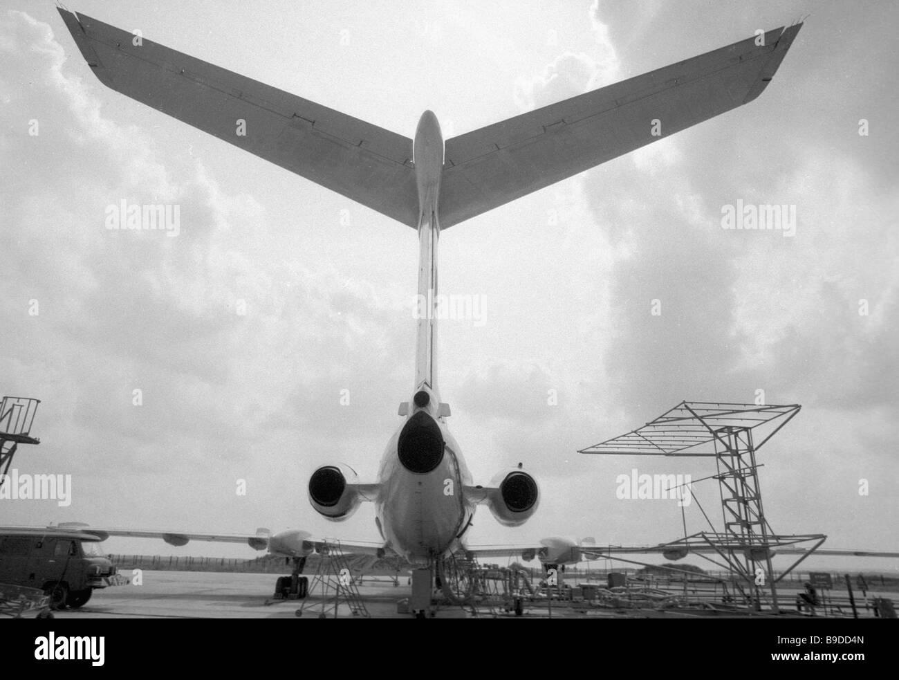 The Tupolev Tu 155 operates on cryogenic fuel - Stock Image