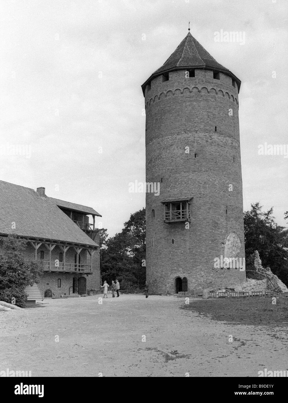 A turret of the Turaida Castle Middle Ages - Stock Image