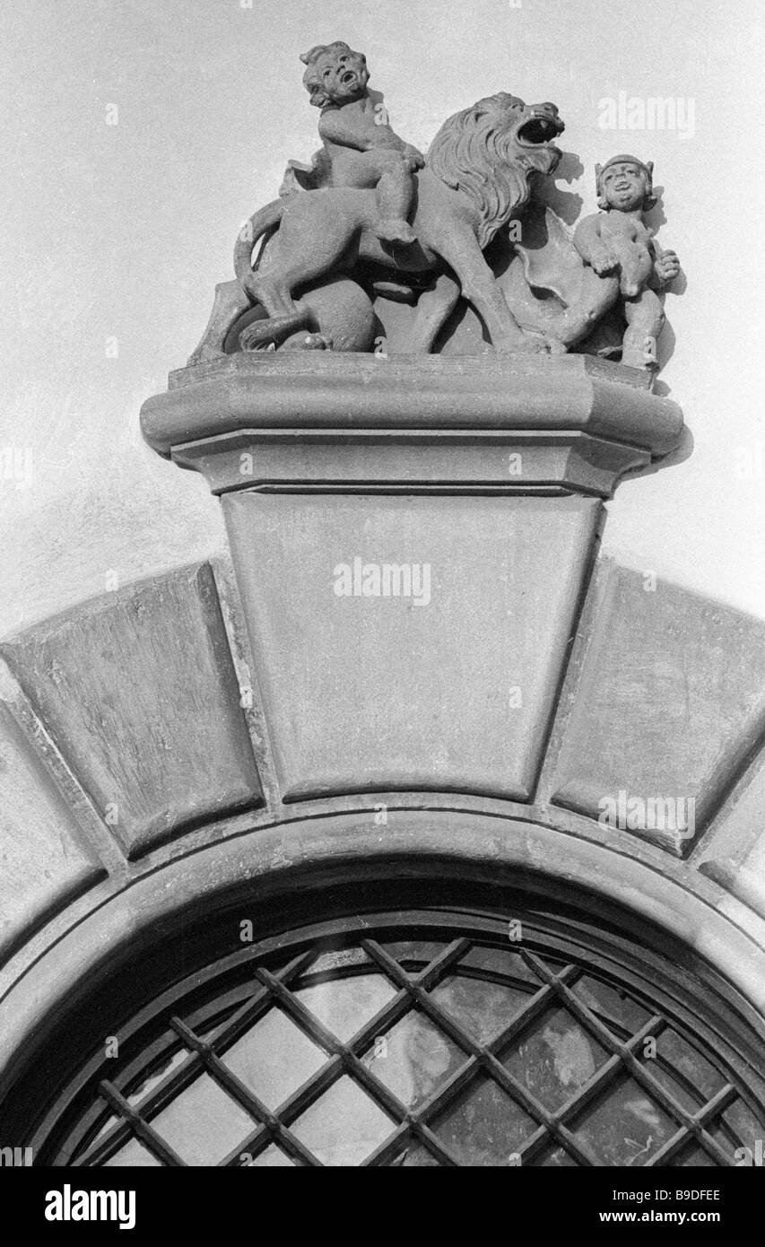 Design detail of the building in Market square 20 in Lvov - Stock Image