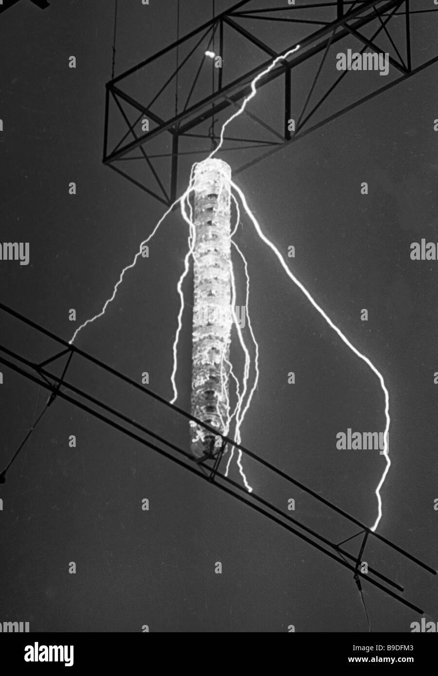 Testing new insulators Leningrad Direct Current Institute - Stock Image