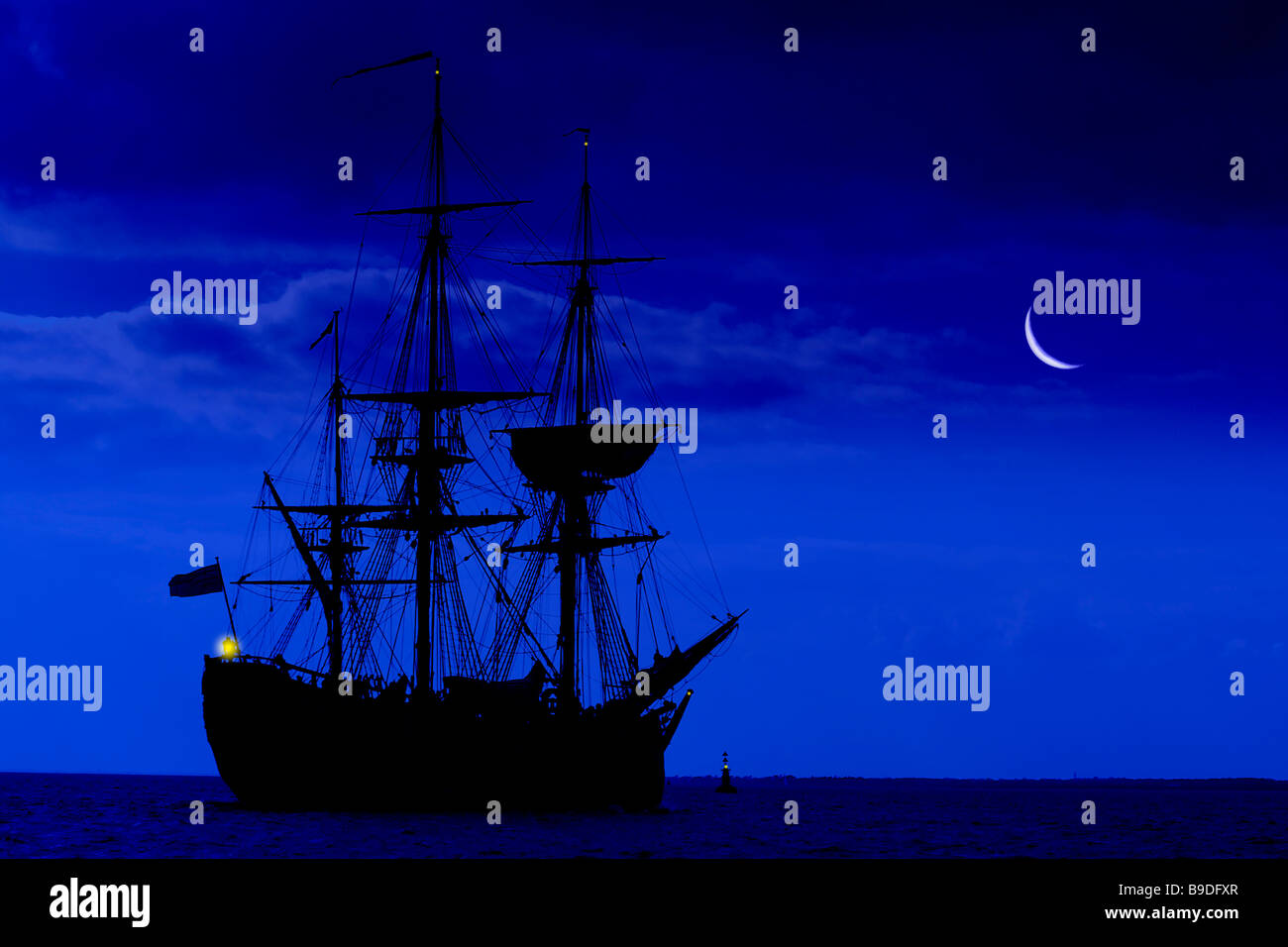 awesome,amazing,big,biggest,colossal,moon,rise,Barque,gaffer,Replica of, James Cook,gaffer,Cook's ship, Endeavour, - Stock Image