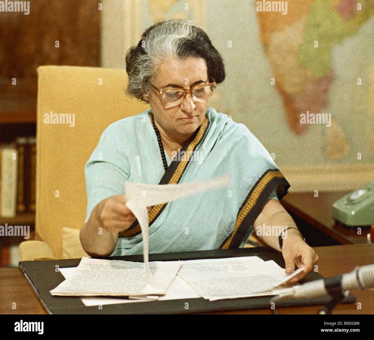 Indira Gandhi Prime Minister of India - Stock Image