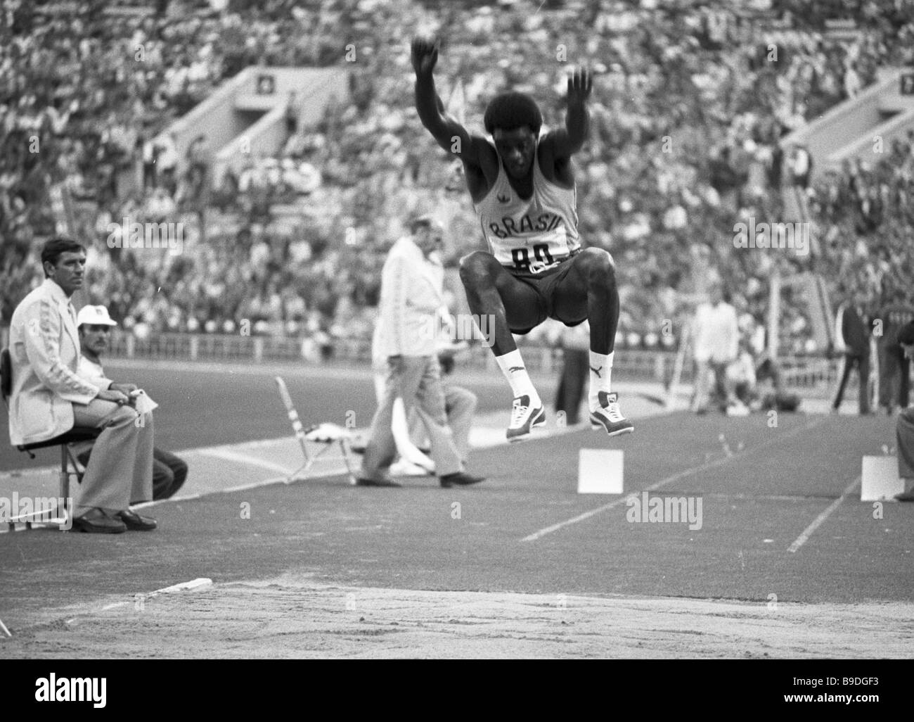 Joao Carlos De Oliveira a record breaker in triple jumping from Brazil bronze winner at the 1980 Olympic Games during - Stock Image