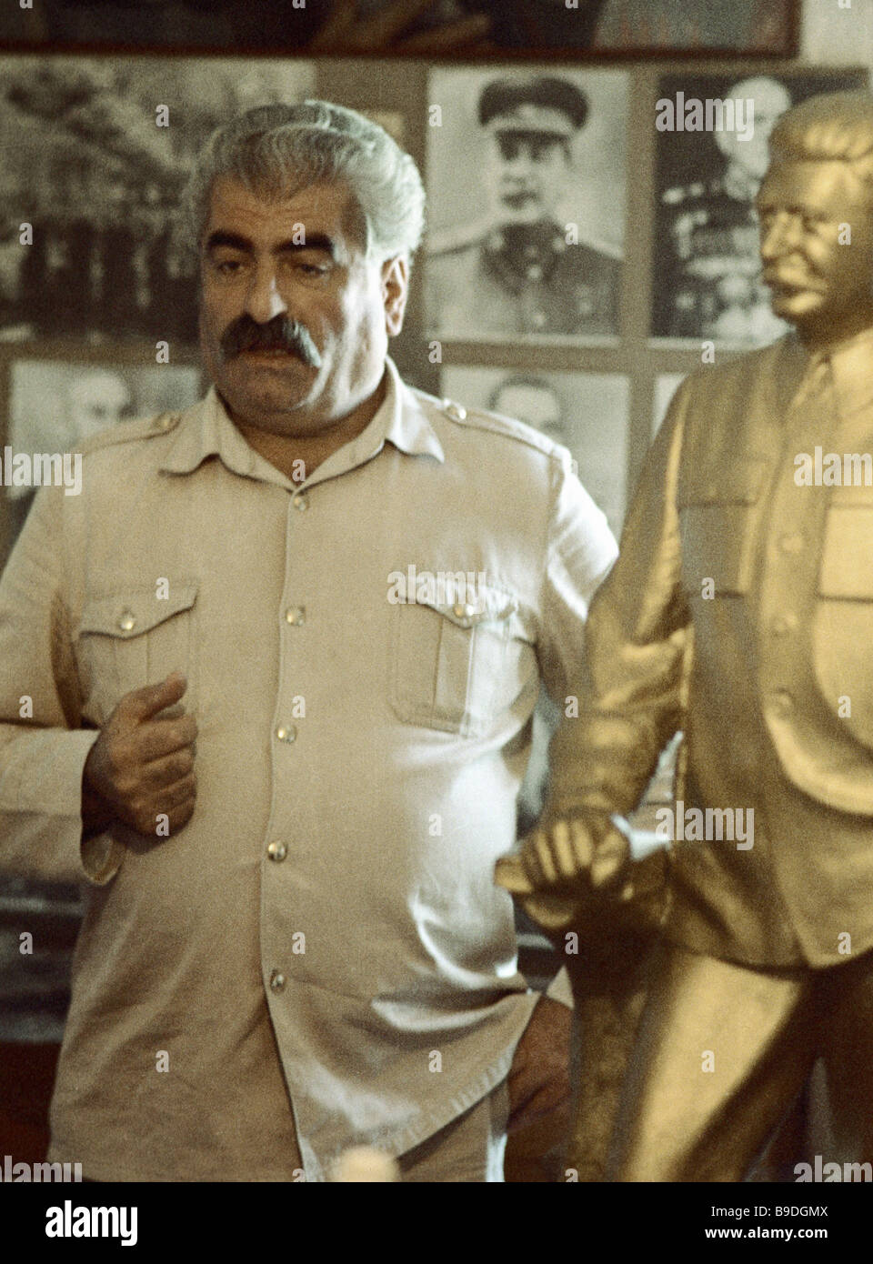 Collector of exhibits for the Stalin cult of personality museum Guram Kakhidze - Stock Image